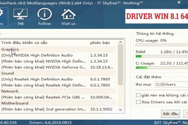 Cách tải và cài driver windows 8.1 64bit laptop & pc